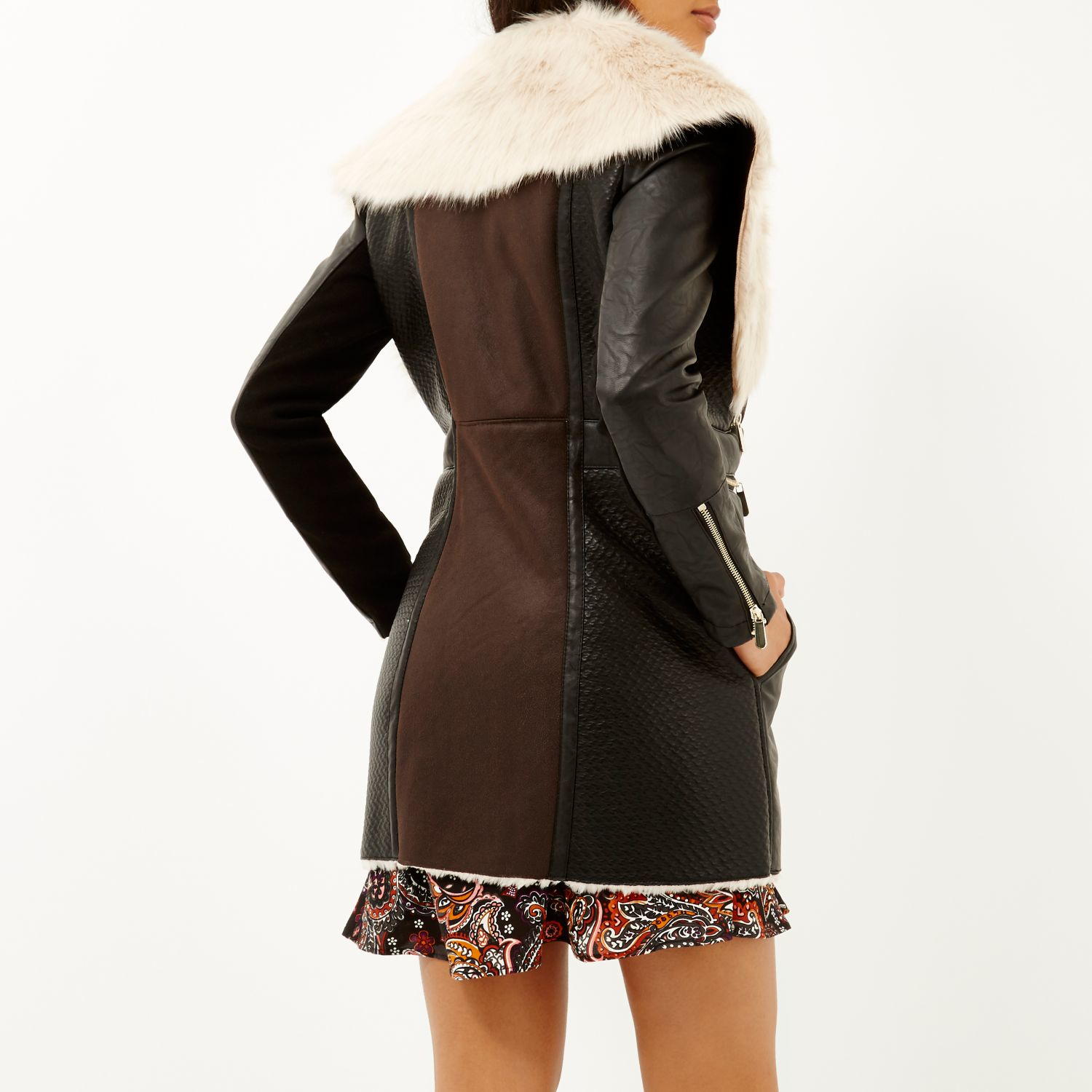 River island Dark Brown Faux Sheepskin Coat in Brown | Lyst