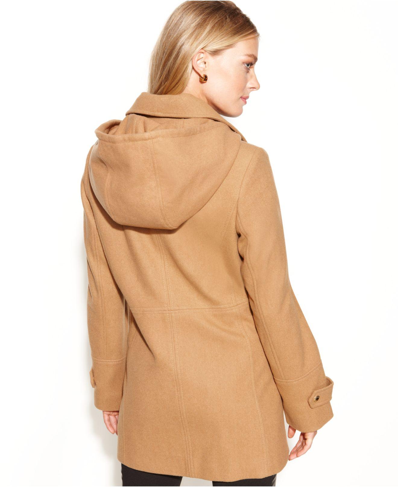 Michael kors Michael Petite Hooded Zip-Front Wool-Blend Coat in ...