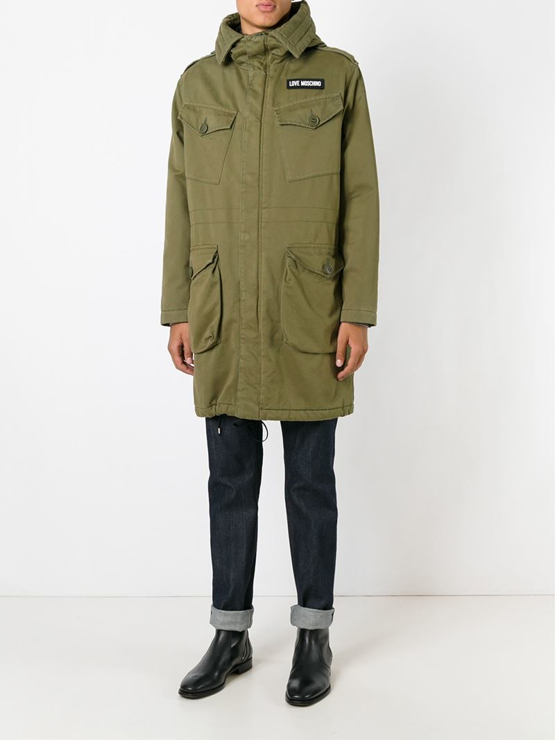 Love moschino Military Parka Jacket in Green for Men | Lyst