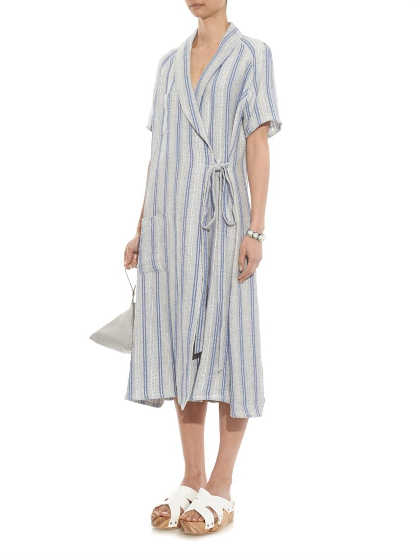 Lyst J W Anderson Striped Cotton And Linen Blend Wrap