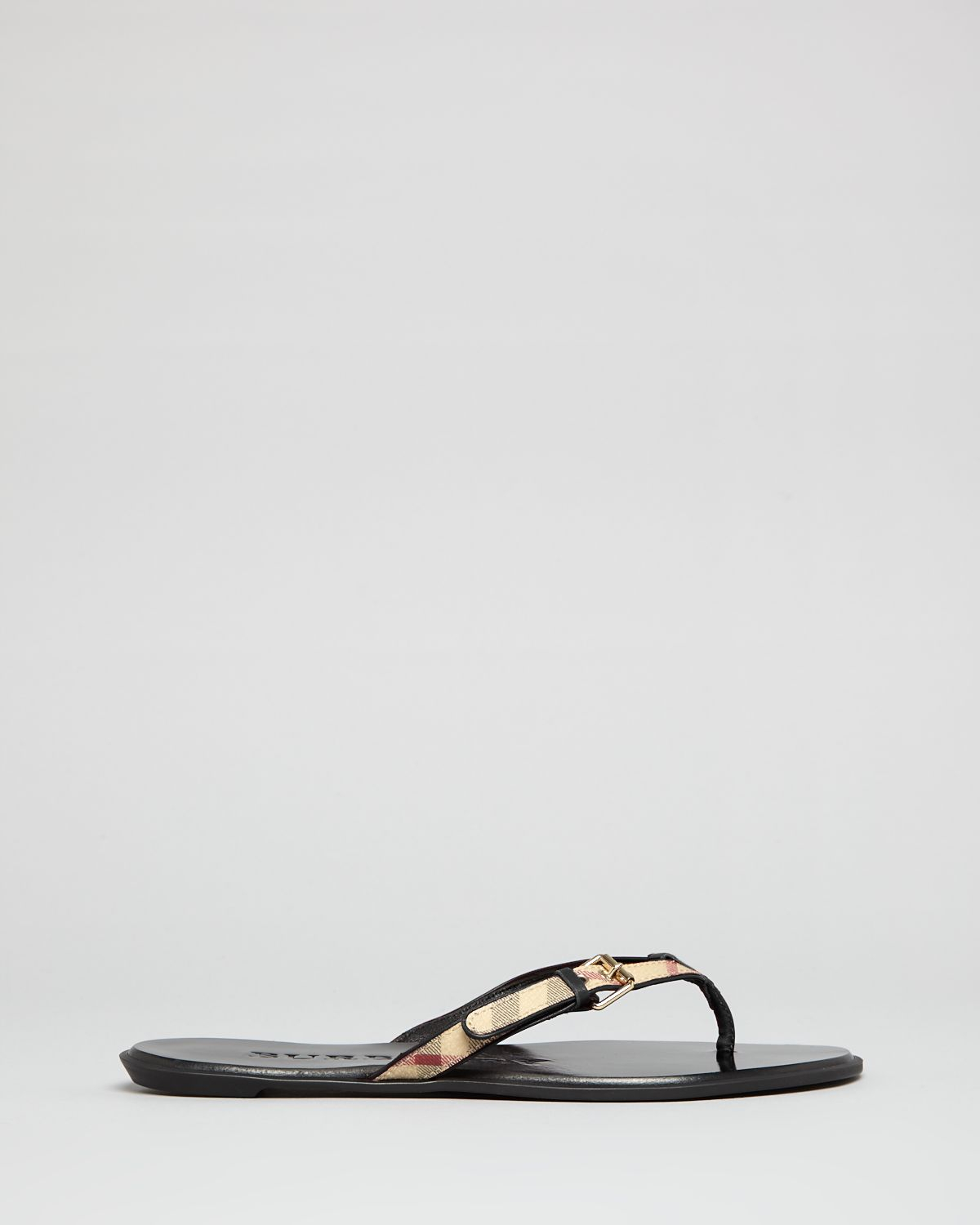 afe77313351 Lyst - Burberry Flip Flop Sandals Parsons Check Thong in Metallic
