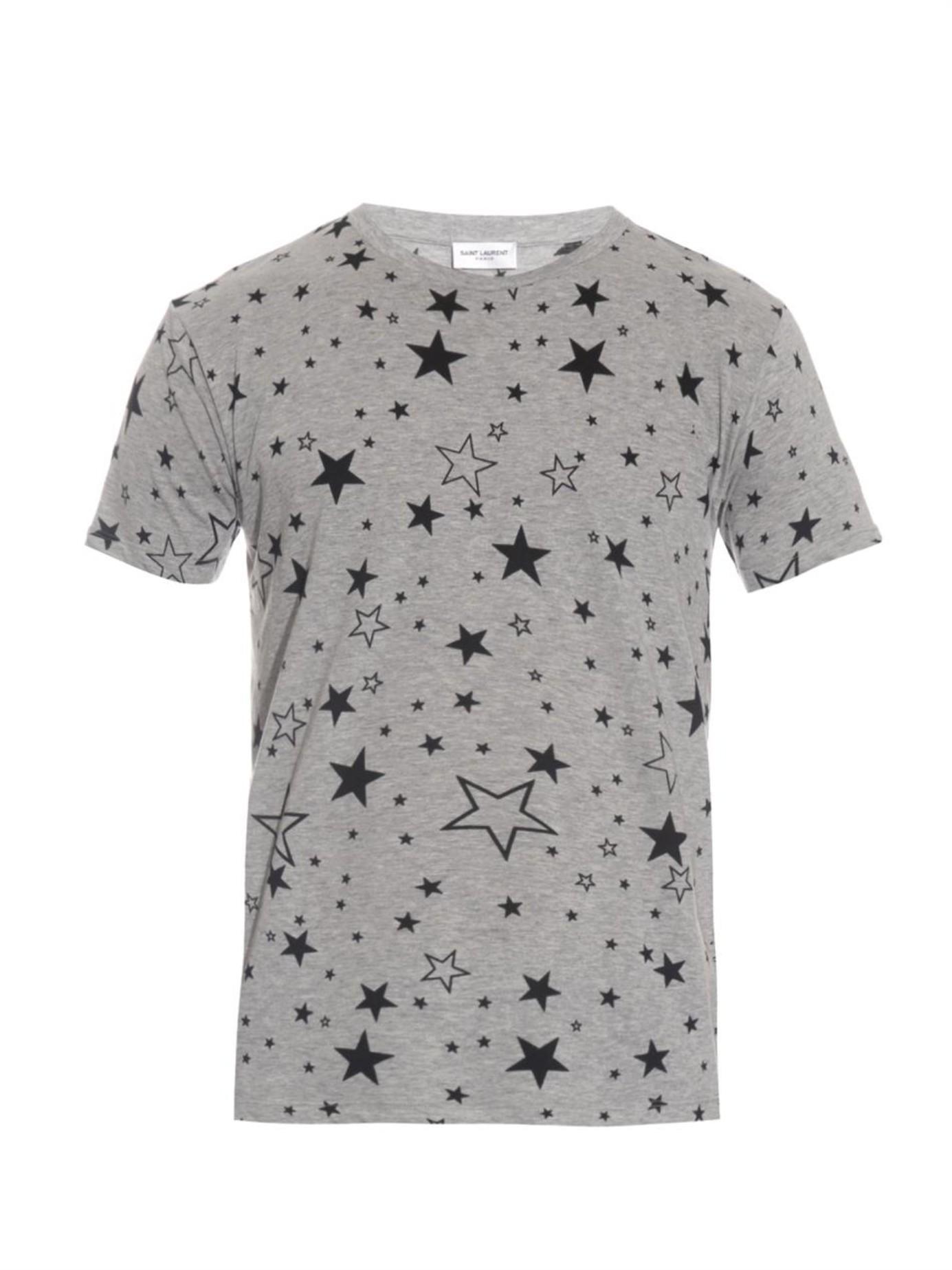 Lyst saint laurent star print t shirt in gray for men for Mens shirt with stars