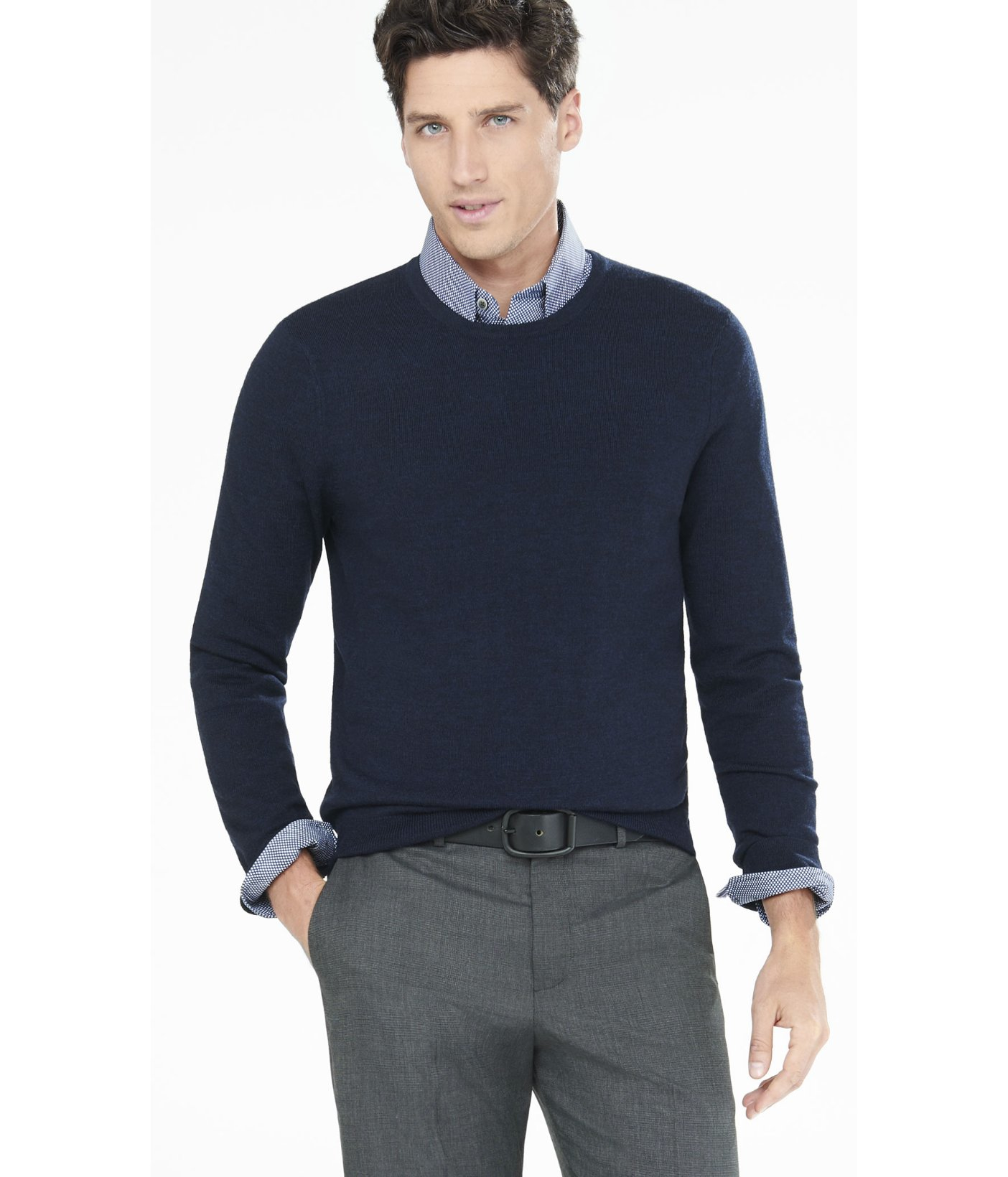 Express Cotton-cashmere Crew Neck Sweater in Blue for Men | Lyst