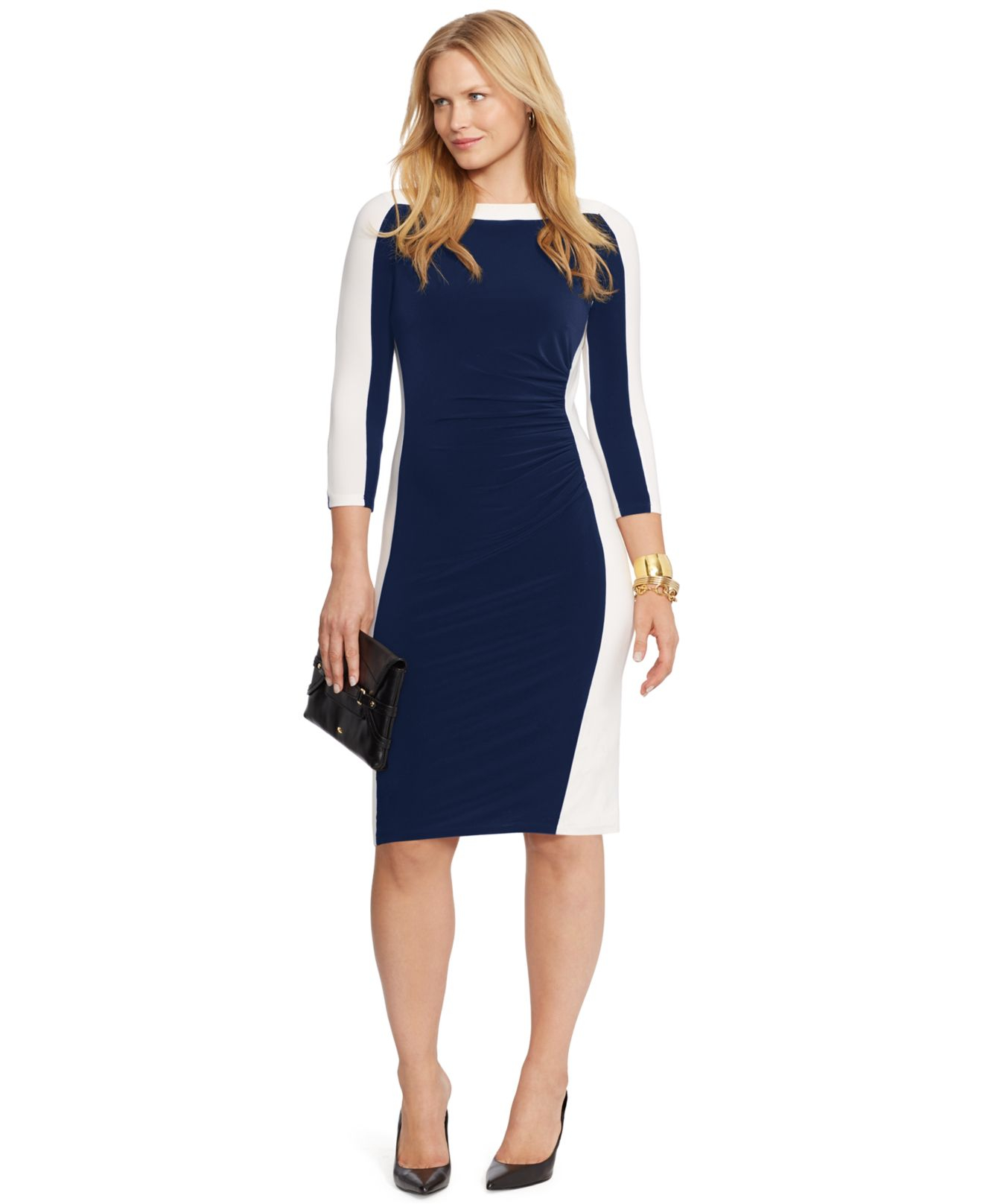 Lauren by ralph lauren Plus Size Colorblocked Sheath Dress in Blue ...
