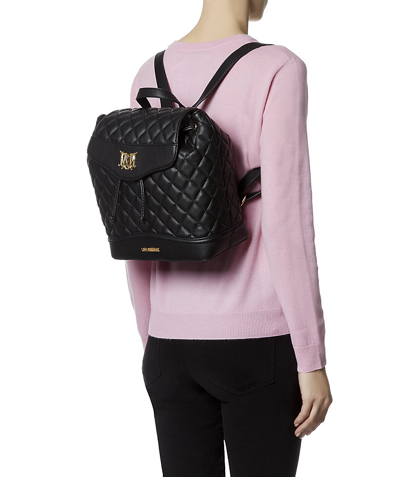 Love Moschino Quilted Backpack In Metallic Lyst