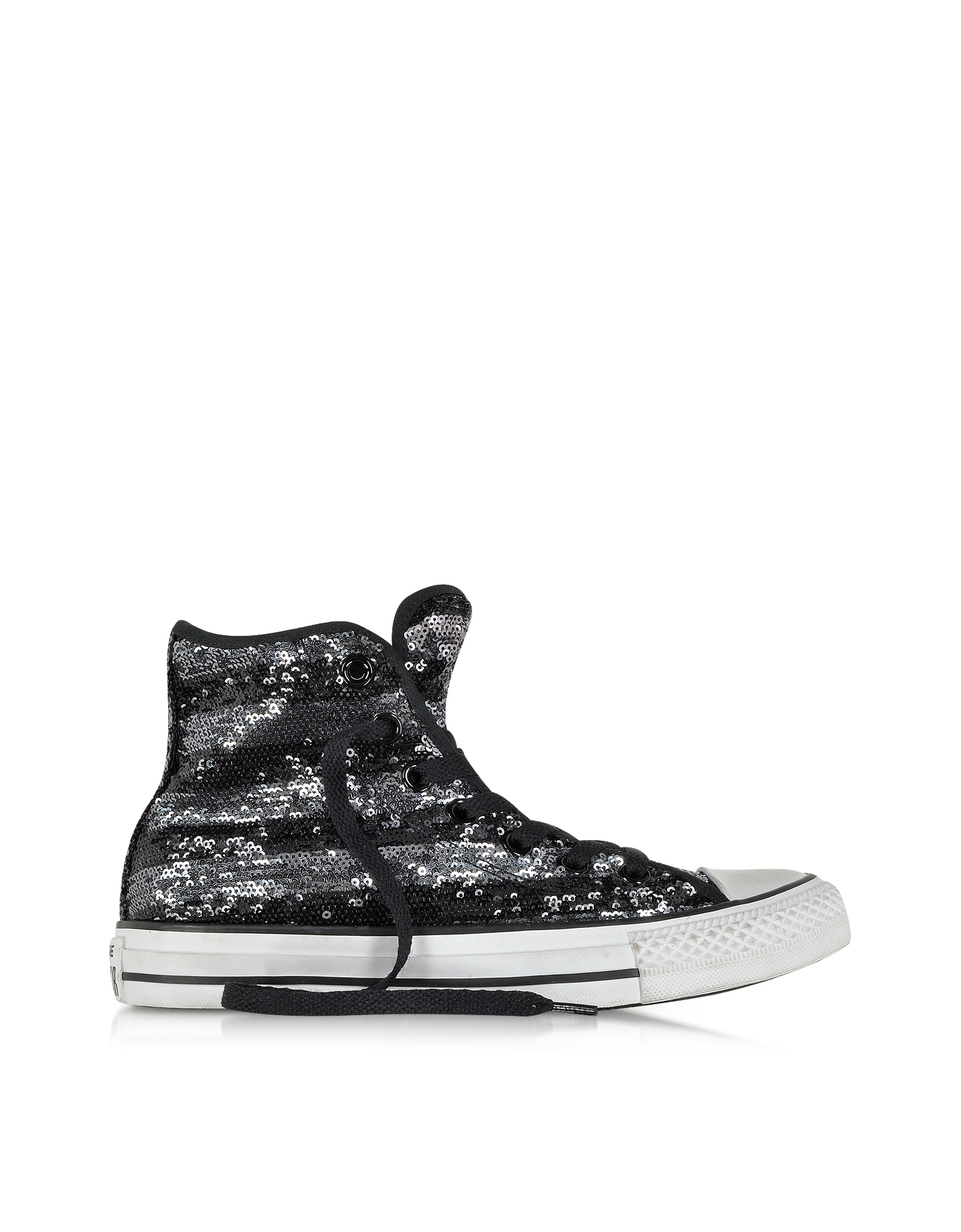 Converse All Star Hi Sequins Black And Silver Sneaker In