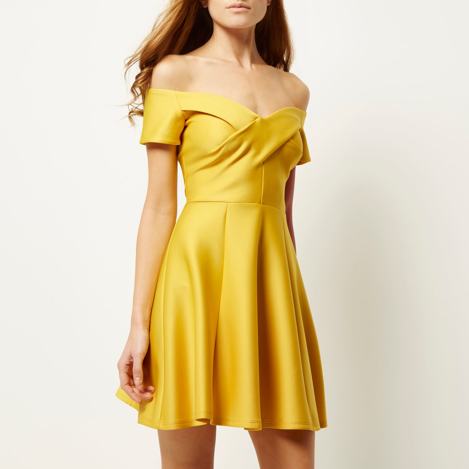 River island Yellow Scuba Bardot Skater Dress in Yellow | Lyst