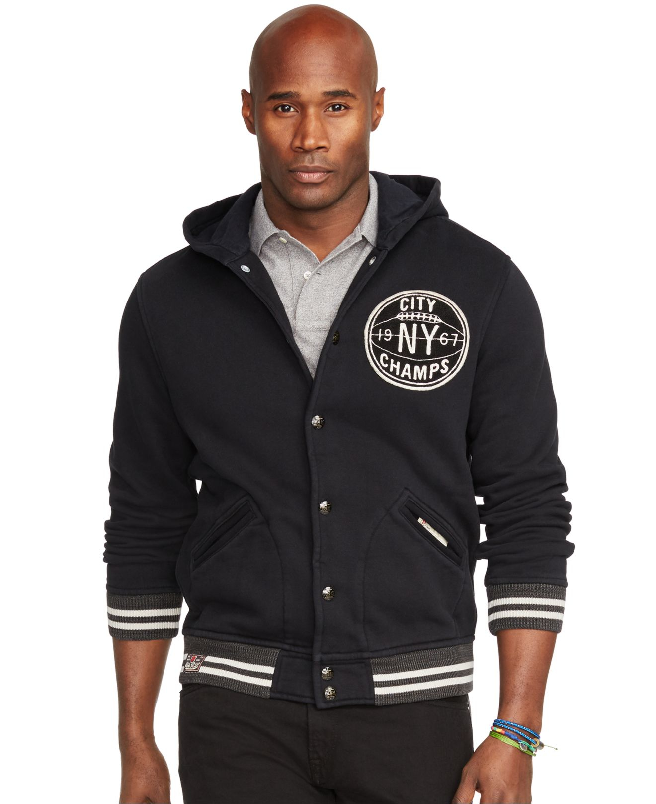 Polo ralph lauren Big And Tall Hooded Baseball Jacket in Black for ...