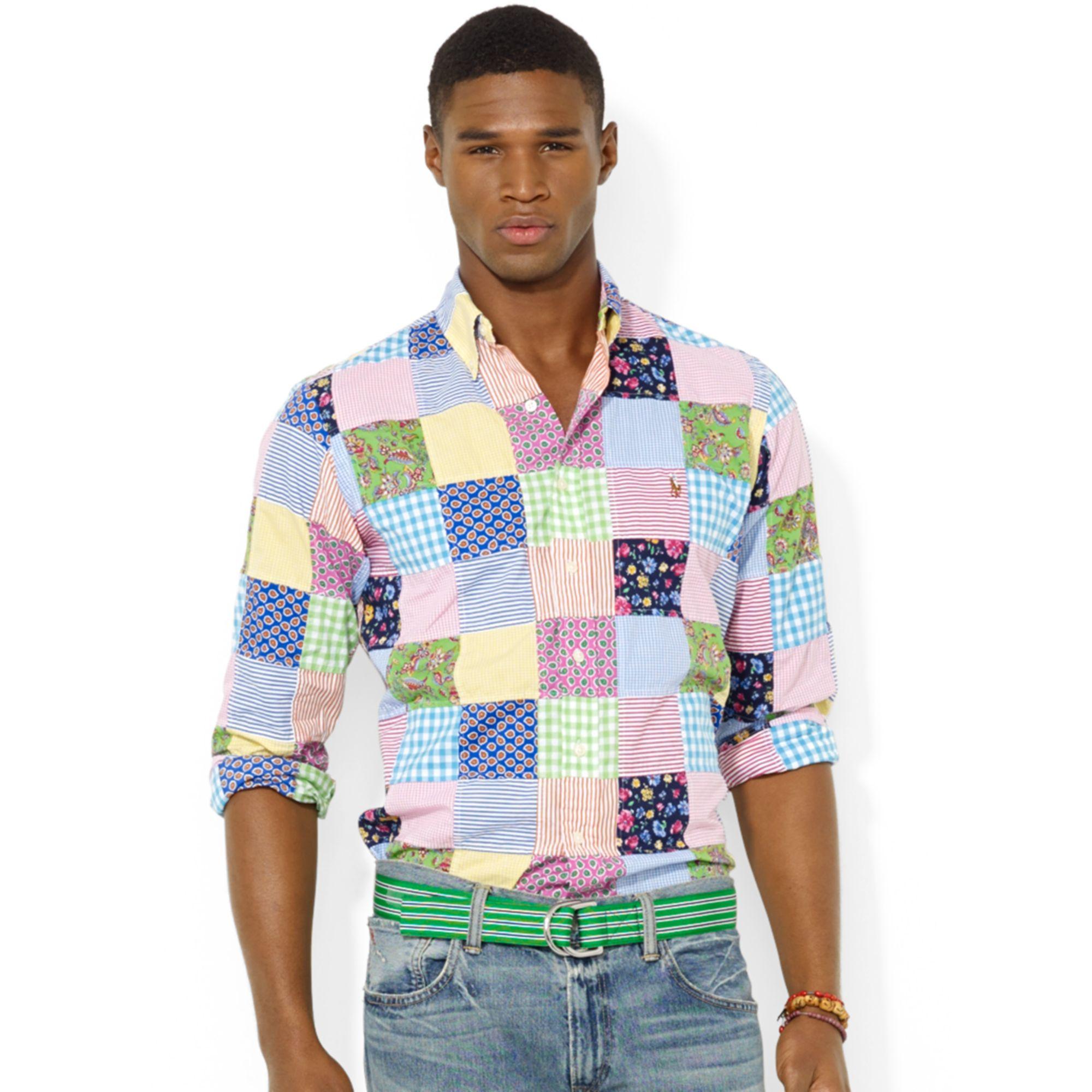 c75a6db6 Ralph Lauren Polo Customfit Patchwork Poplin Sport Shirt for Men - Lyst