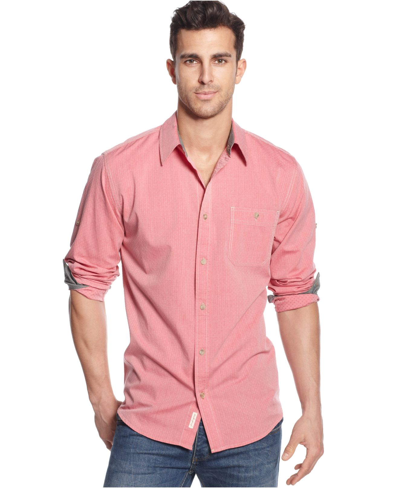 Weatherproof vintage chambray shirt in red for men dobby for Weatherproof vintage men s lightweight flannel shirt