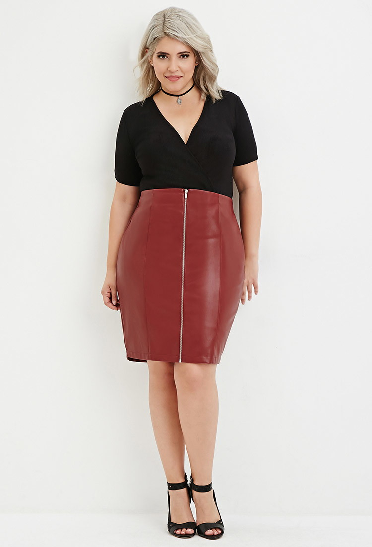 Forever 21 Plus Size Zipped Faux Leather Skirt in Purple | Lyst