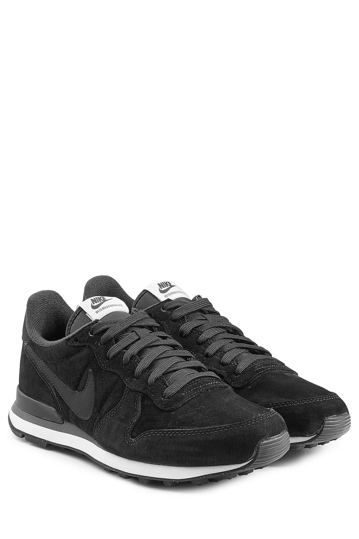 Nike Internationalist Suede Sneakers - Black in Black for Me