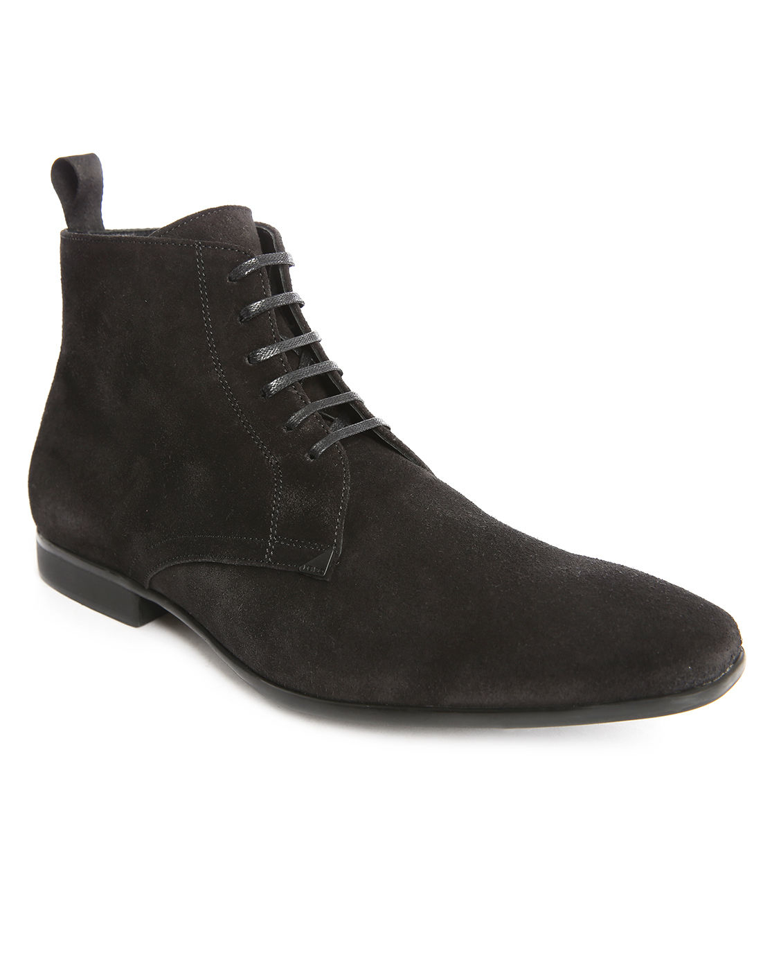 kenzo werny black suede side zip laced boots in black for