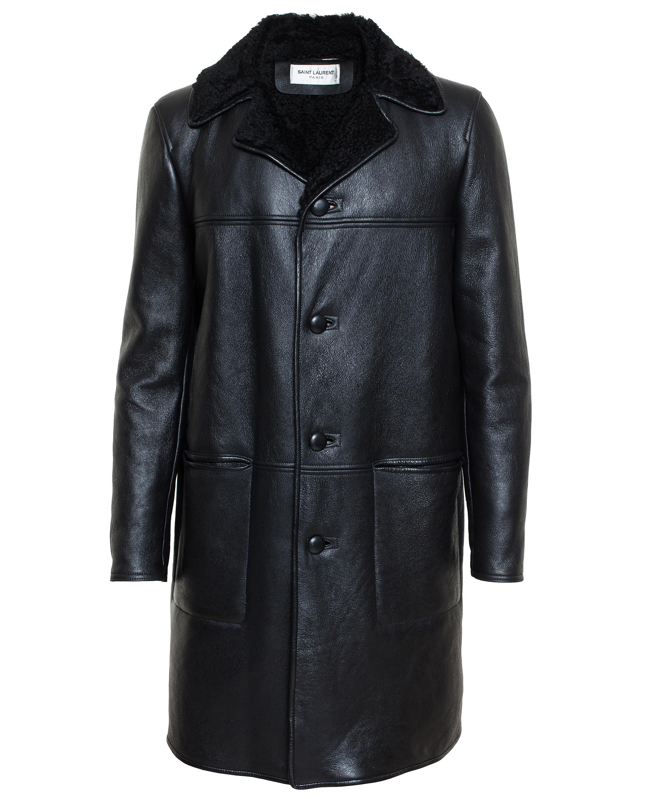 Saint laurent Lamb Leather Shearling Coat in Black | Lyst