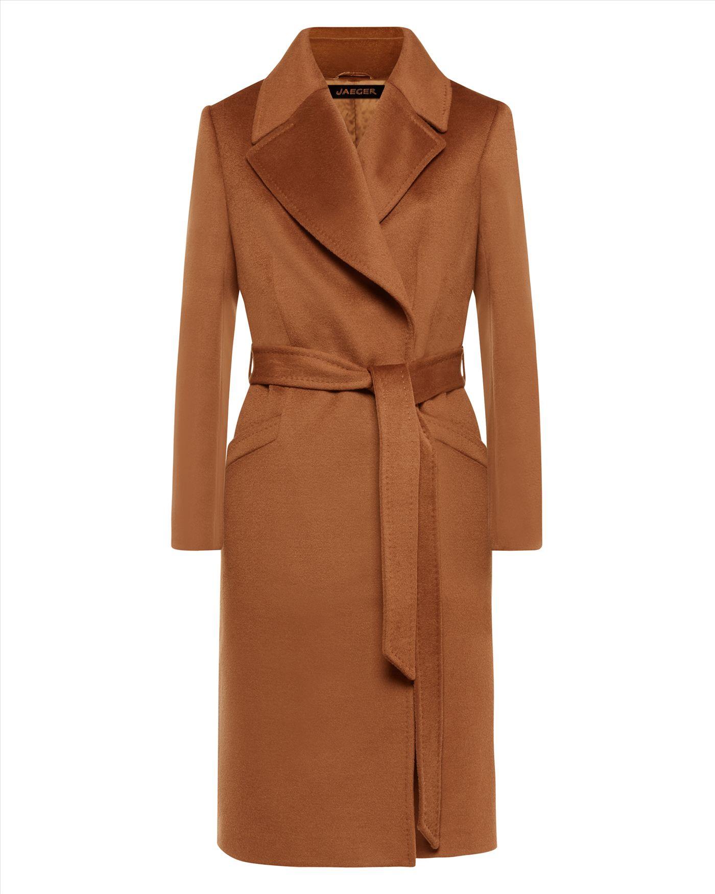 Jaeger Wool Wrap Coat In Brown Lyst