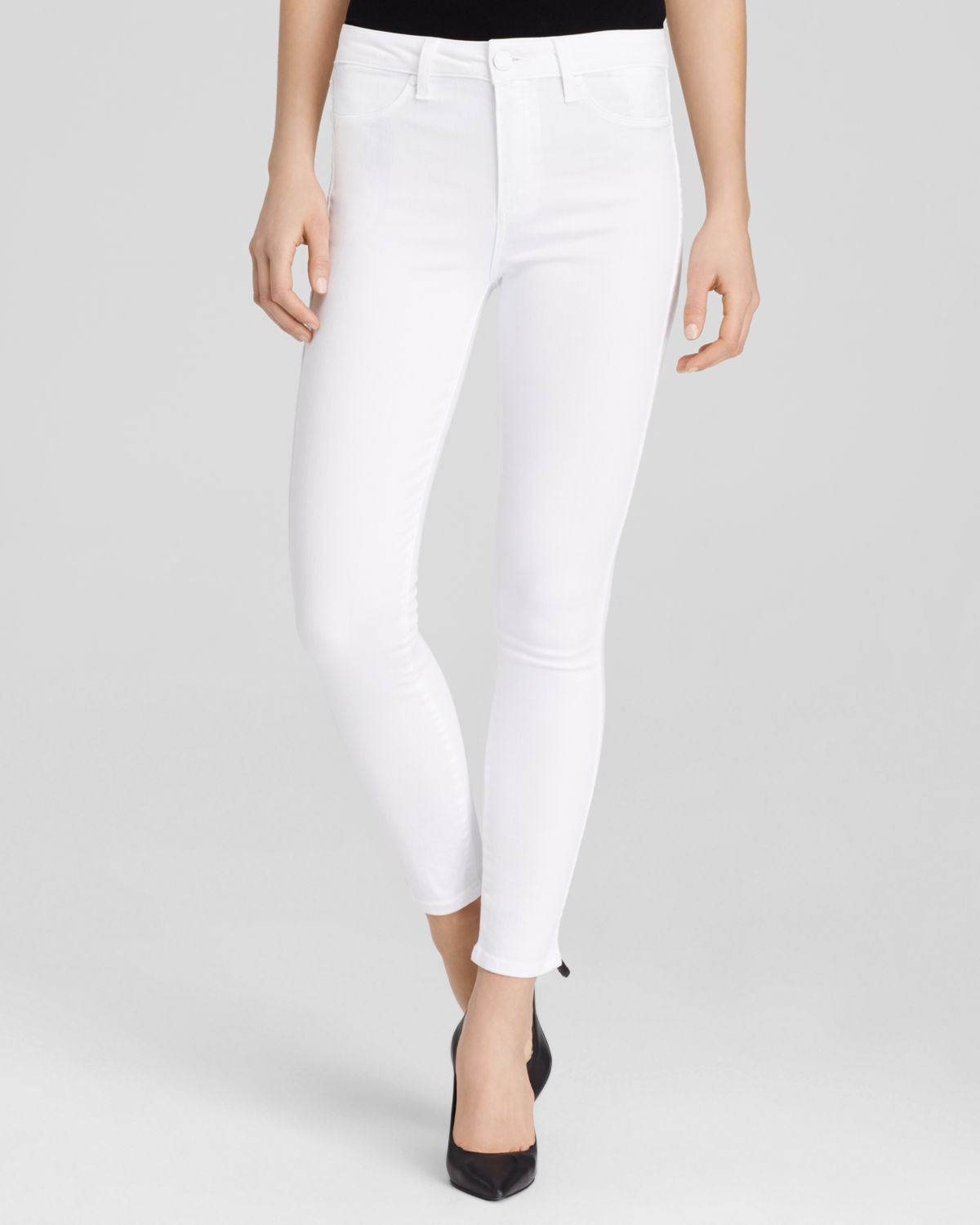 Paige Hoxton High Rise Ankle Jeans In Ultra White in White | Lyst