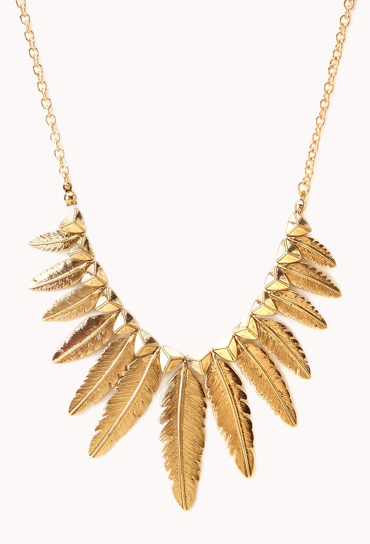 Lyst Forever 21 Etched Feather Necklace in Metallic