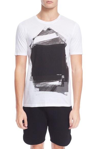 helmut lang graphic t shirt in white for men lyst. Black Bedroom Furniture Sets. Home Design Ideas