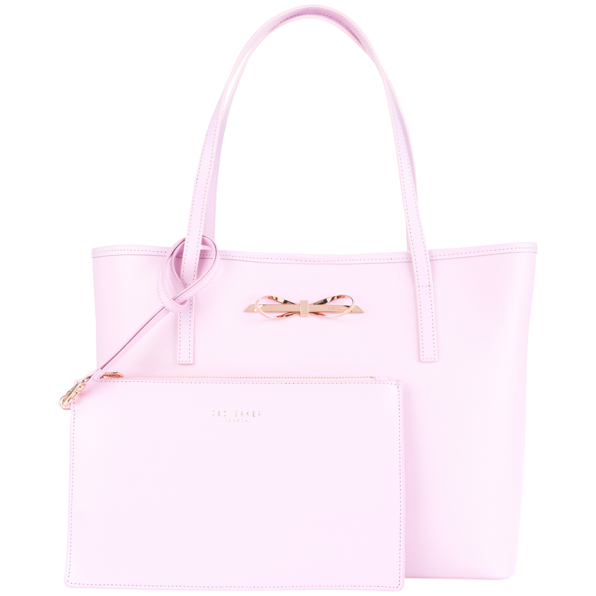 6b3ab3627ed2 Ted Baker Isabow Crosshatch Leather Bow Shopper Bag in Pink - Lyst