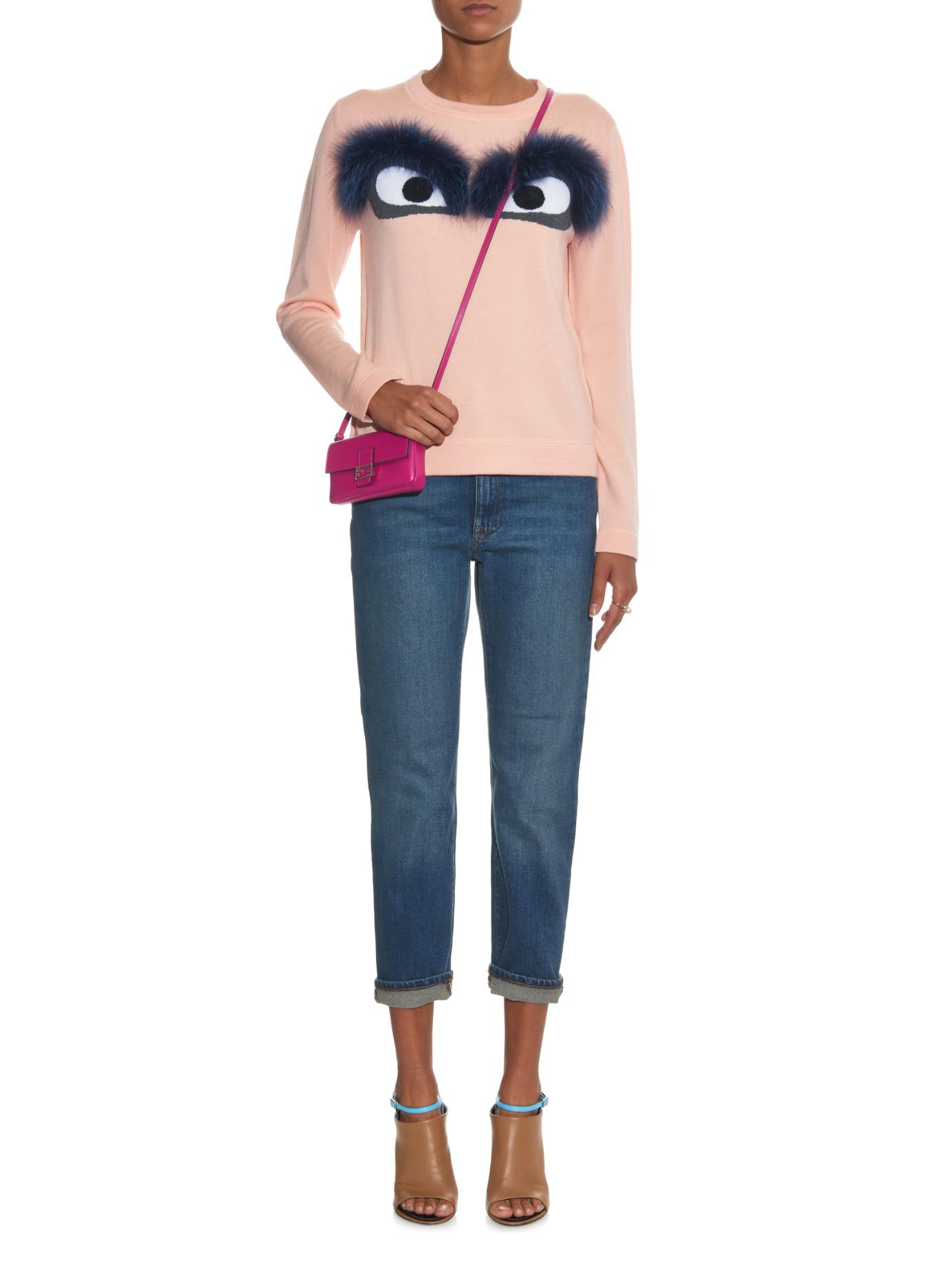 1ec6f9d65c33 Fendi Micro Baguette Leather Cross-Body Bag in Pink - Lyst