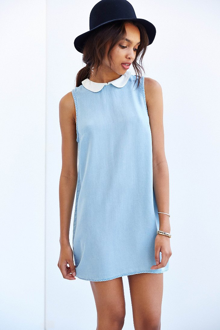 Bdg collared chambray shift dress in blue lyst for Chambray dress