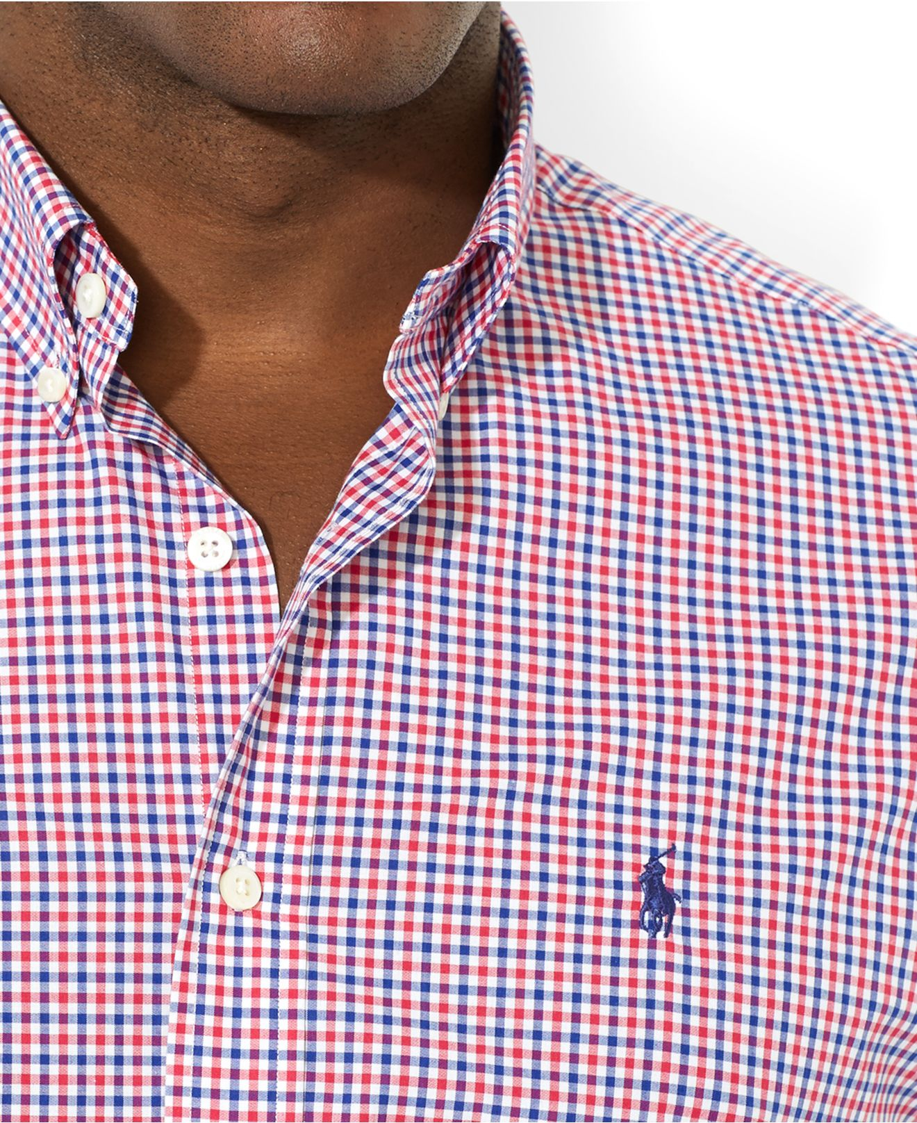 Polo Ralph Lauren Slim Fit Checked Oxford Shirt Red Blue Bcd Tofu