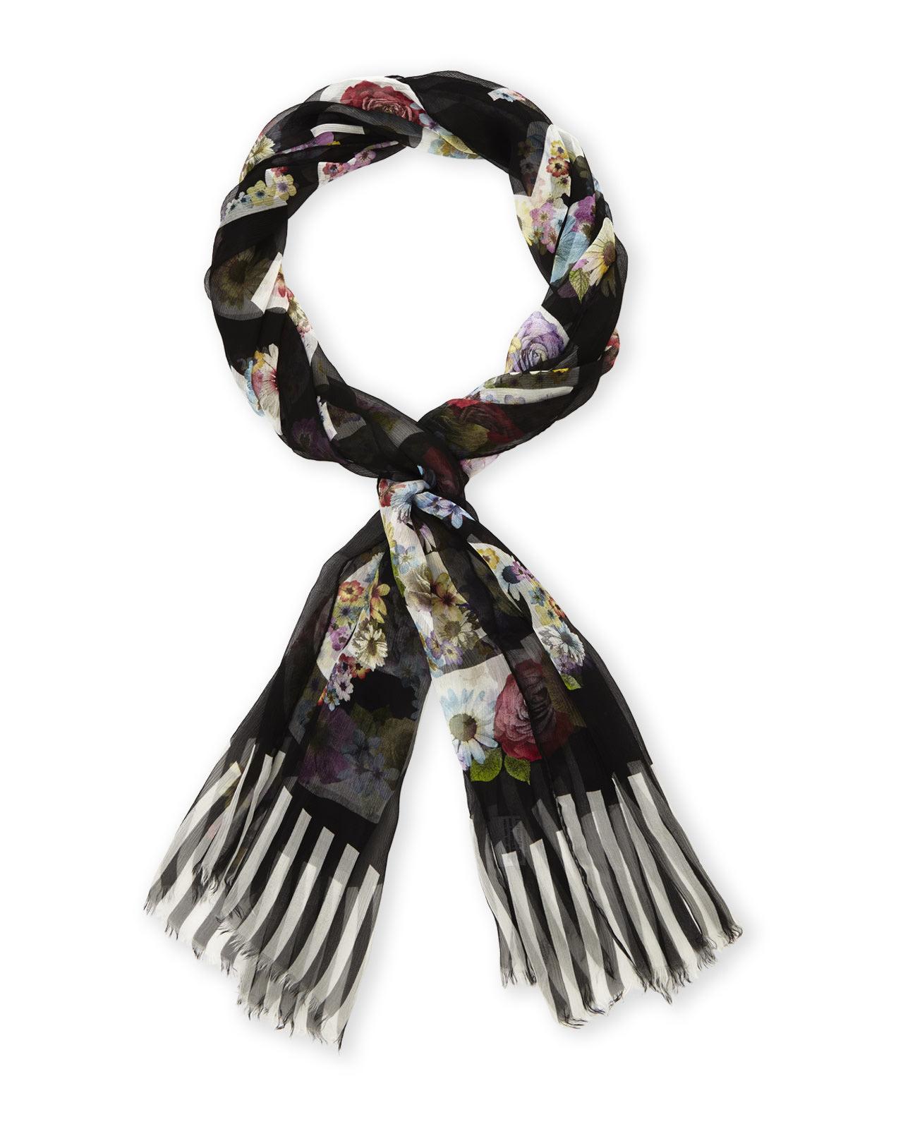 moschino printed 100 silk scarf in black lyst
