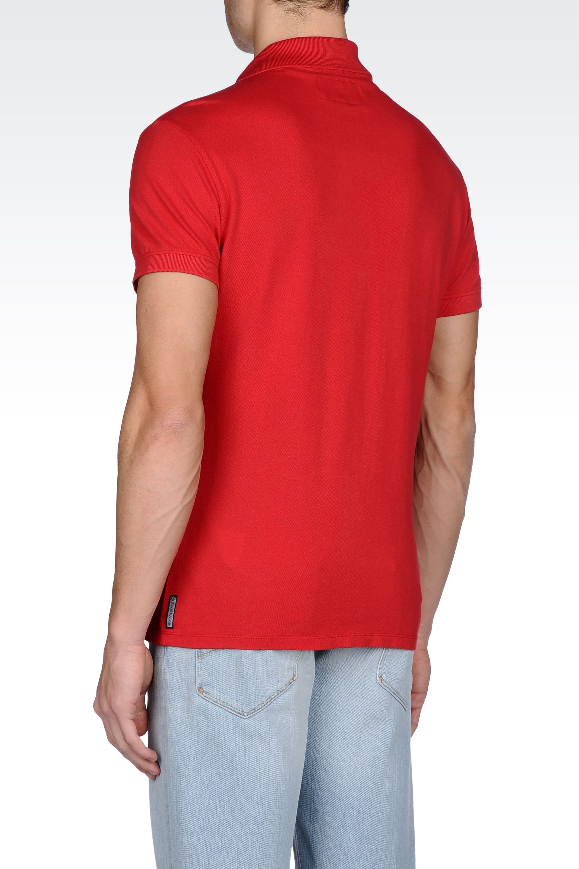Lyst armani jeans classic polo shirt in cotton pique in for Polo shirt and jeans