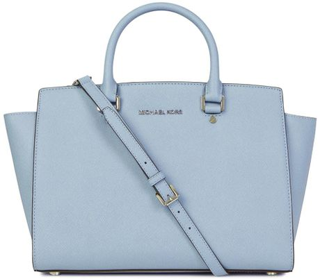 michael kors selma light blue saffiano leather tote in blue lyst. Black Bedroom Furniture Sets. Home Design Ideas