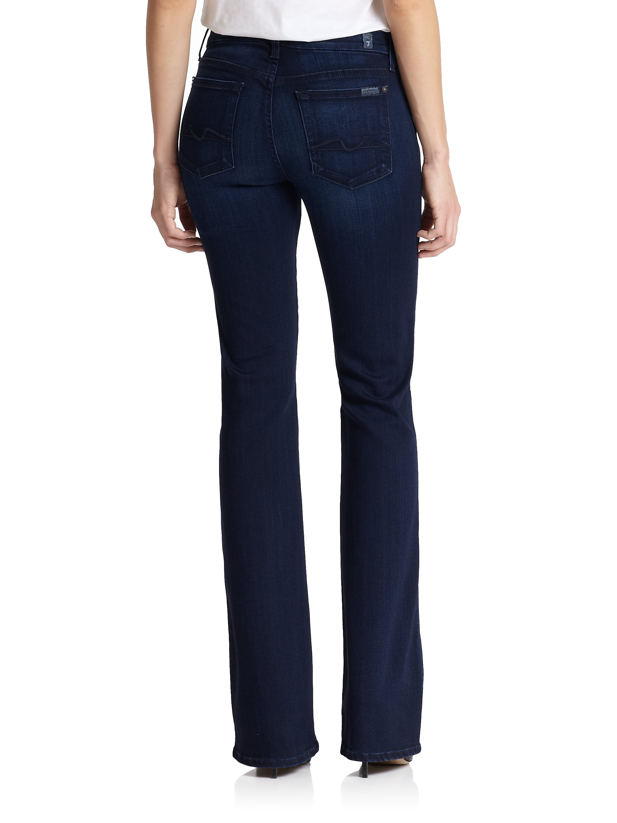 lyst 7 for all mankind kimmie bootcut jeans in blue. Black Bedroom Furniture Sets. Home Design Ideas