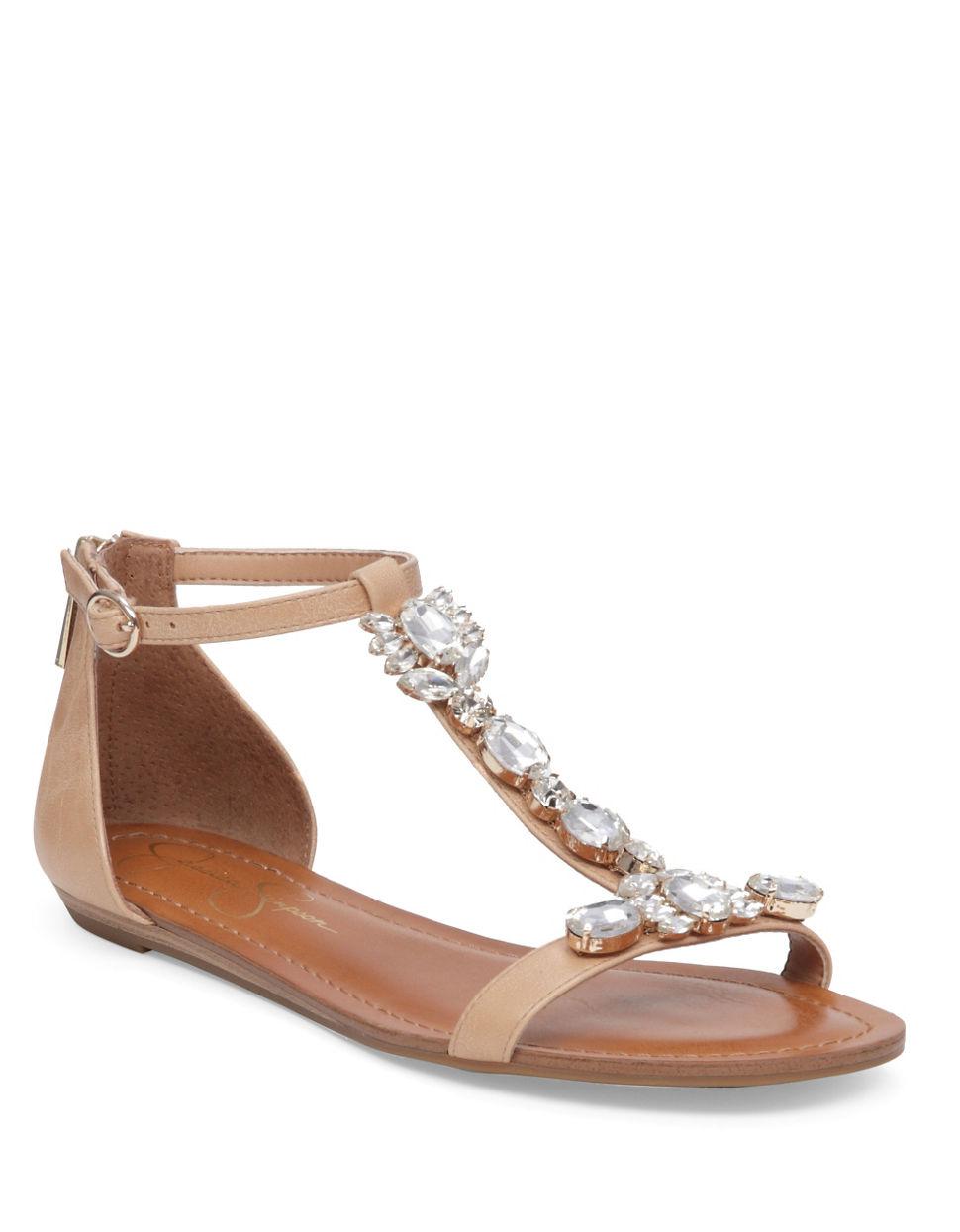 Jessica simpson Lanning Glass Stone Embellished Slingback ...