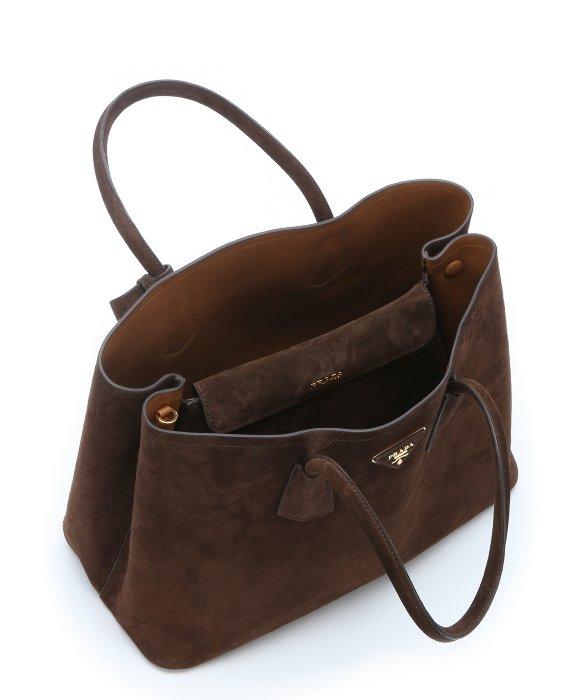 prada black canvas tote bag - Prada Pre-owned: Dark Brown Suede Side-expandable Convertible Tote ...