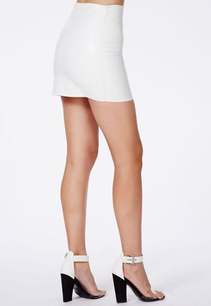 missguided laetita faux leather wrap skirt in white