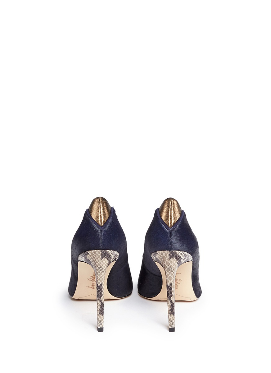 61bfe7ab03d9f Lyst - Sam Edelman  dea  Python Embossed Heel Calf Hair Pumps in Blue