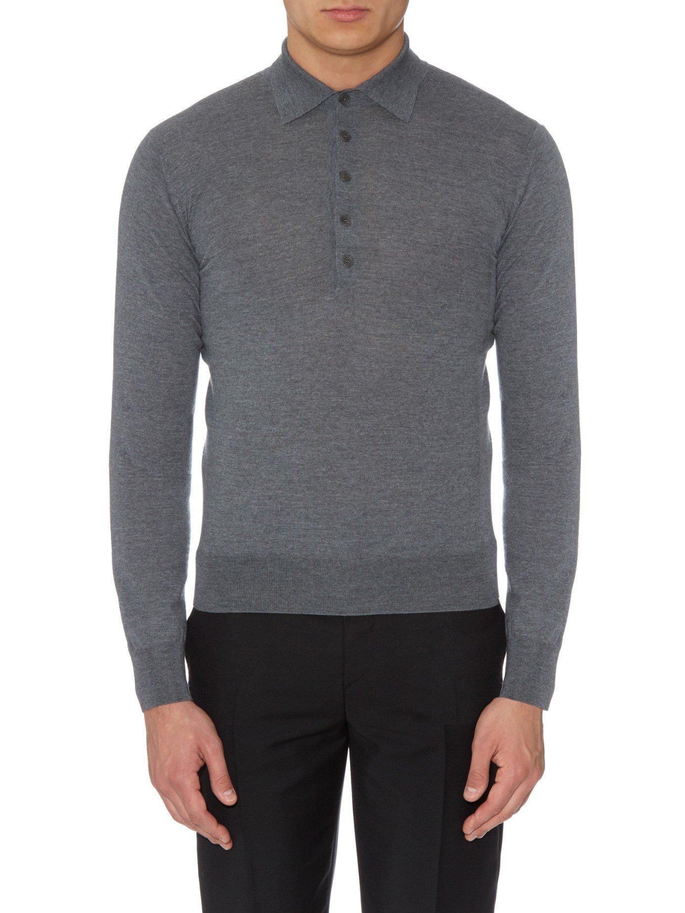 Bottega veneta long sleeved merino wool polo shirt in gray for Merino wool shirt long sleeve