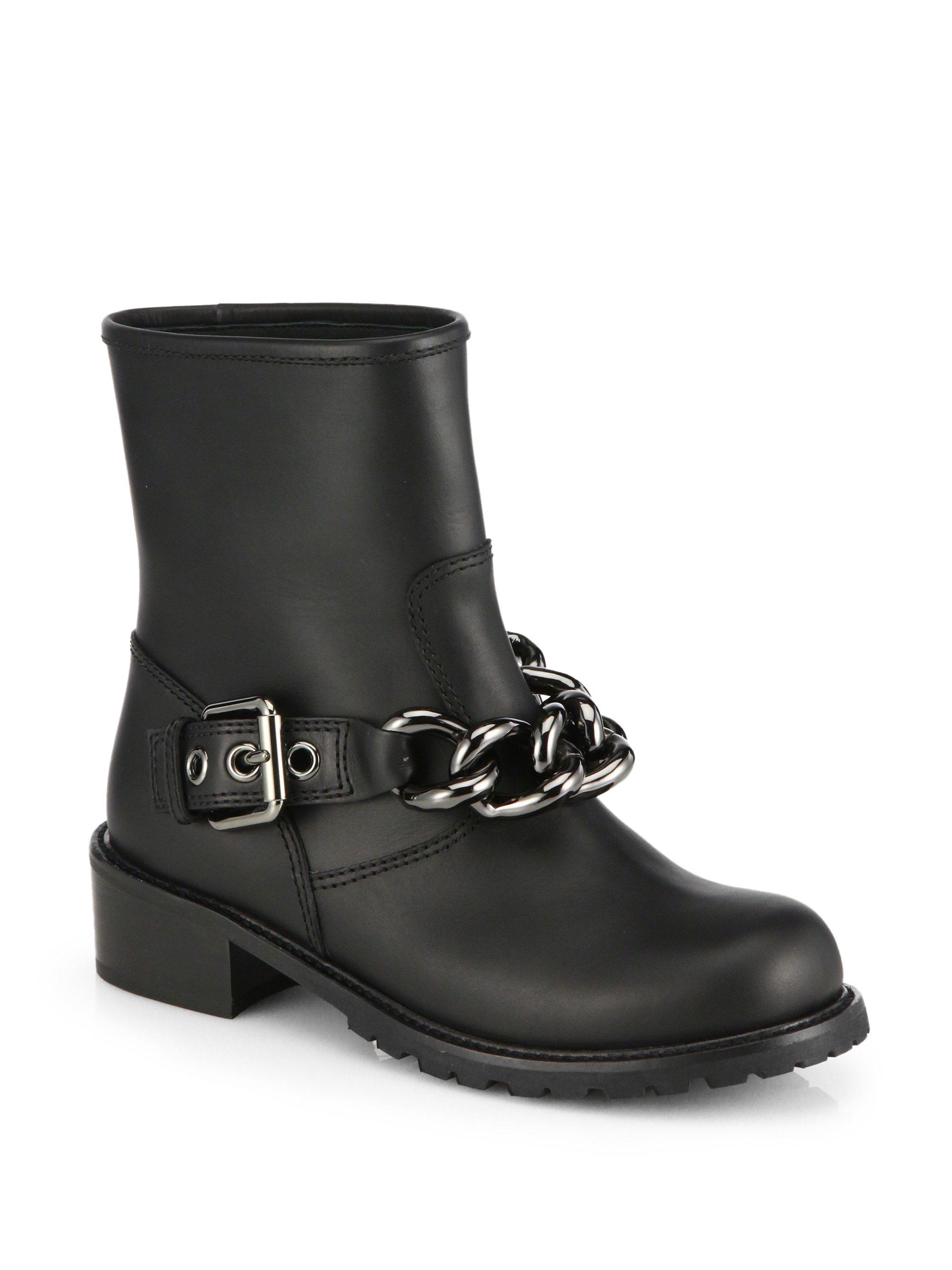 5fa908bc97b67 Giuseppe Zanotti Moto Chain-Detail Leather Boots in Black - Lyst