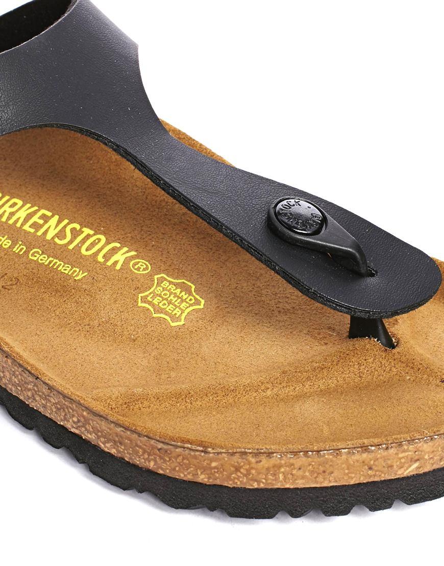 387bc3a64e548b Lyst - Birkenstock Gizeh Birko Flor Black Regular Fit Sandals in Black