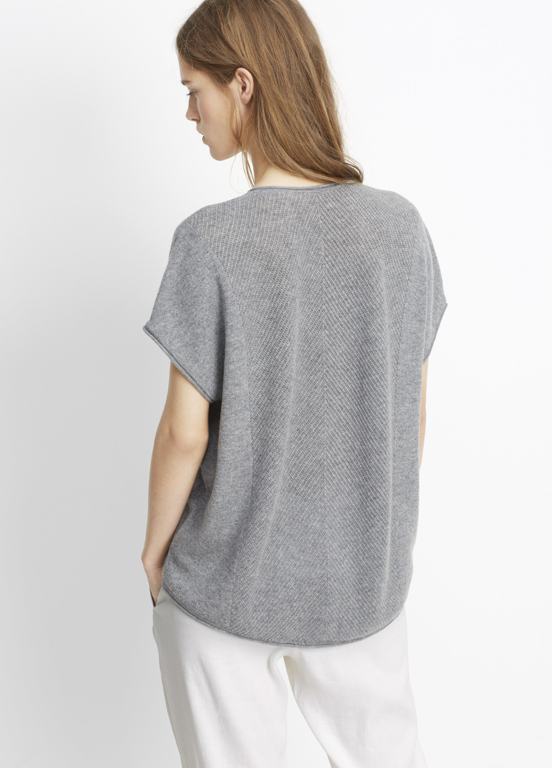 Vince Cashmere Chevron Stitch Short Sleeve Sweater in Gray | Lyst