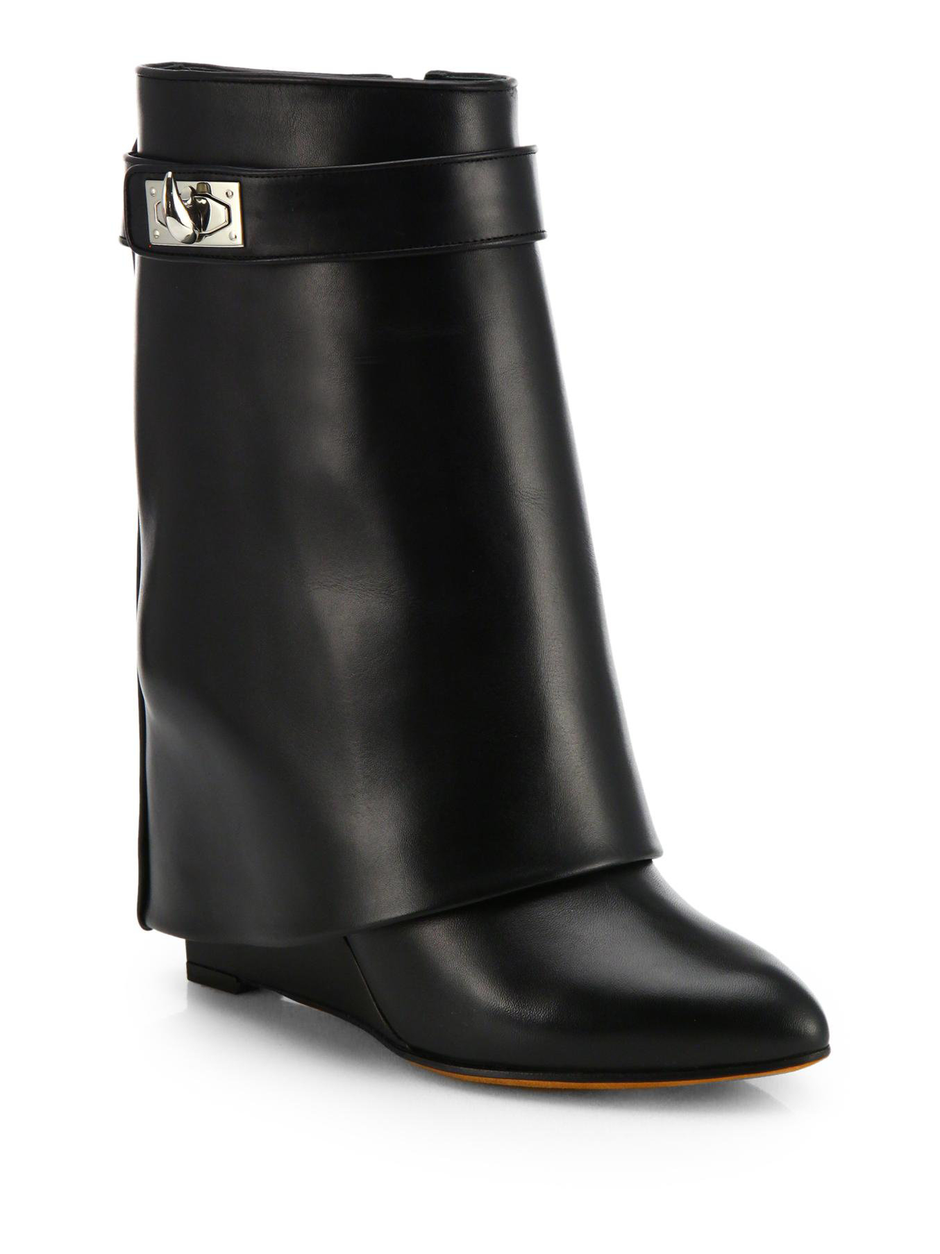 givenchy shark lock leather mid calf wedge boots in