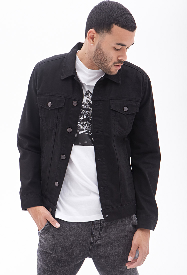 Lyst - Forever 21 Dark Wash Denim Jacket in Black for Men
