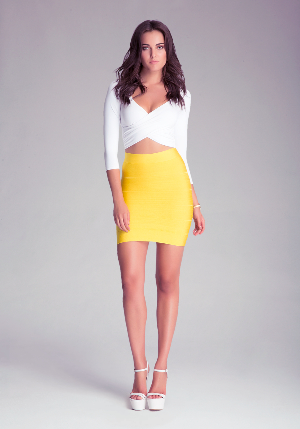bebe solid bandage skirt in yellow lyst. Black Bedroom Furniture Sets. Home Design Ideas
