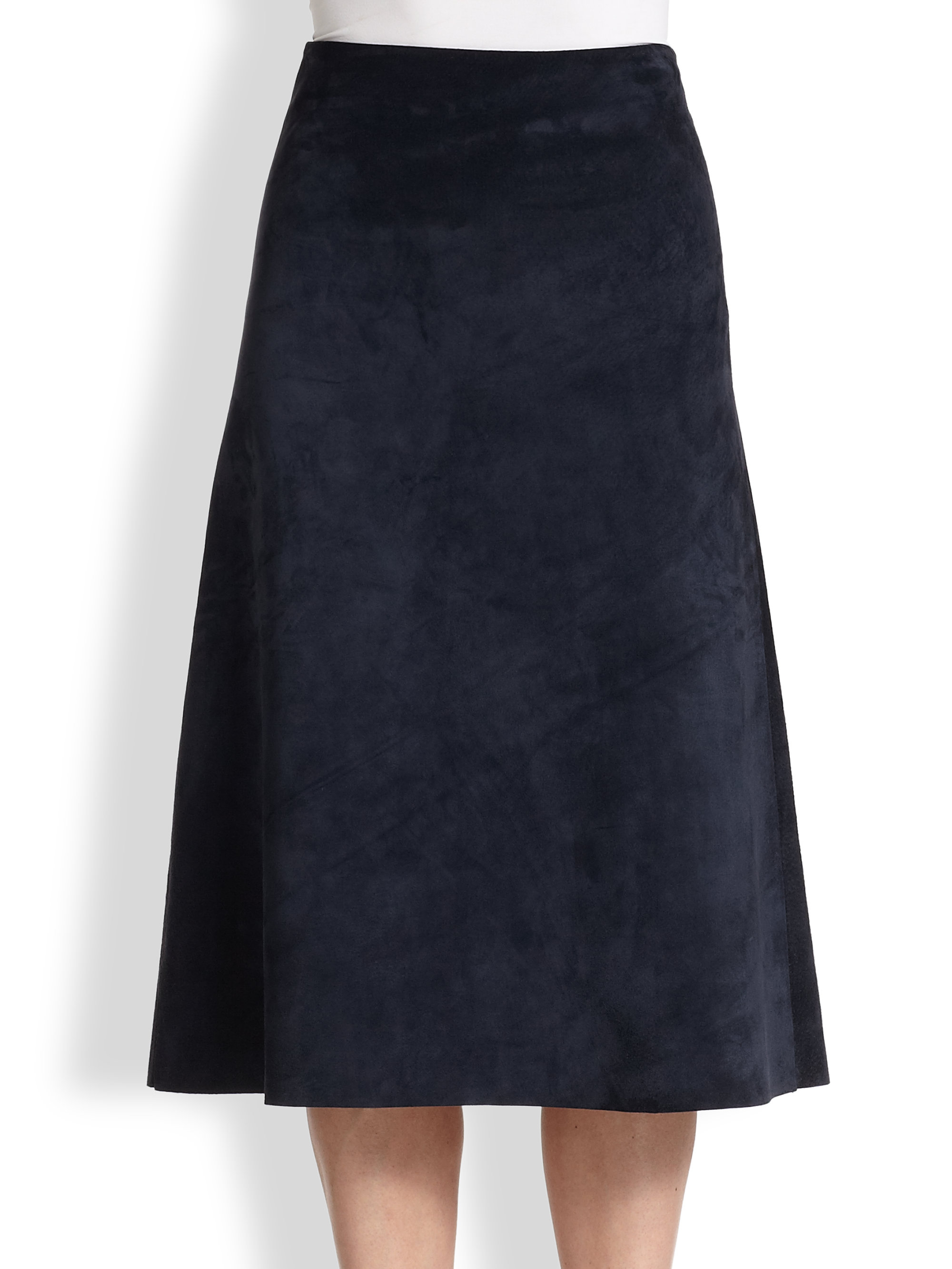 Theory Janheem Suede A-Line Skirt in Blue | Lyst