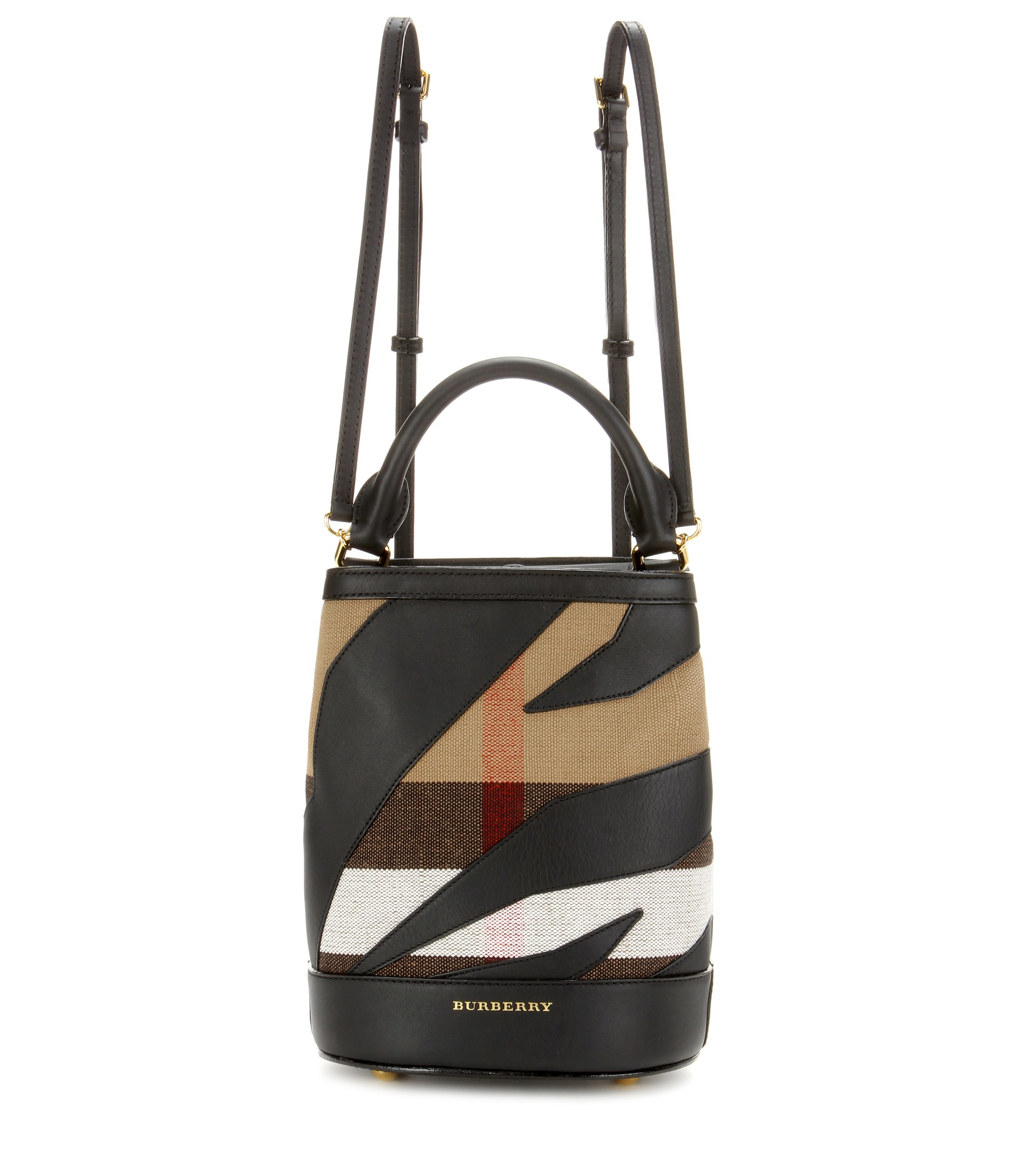 Burberry prorsum Leather-trimmed Check Backpack in Black ...