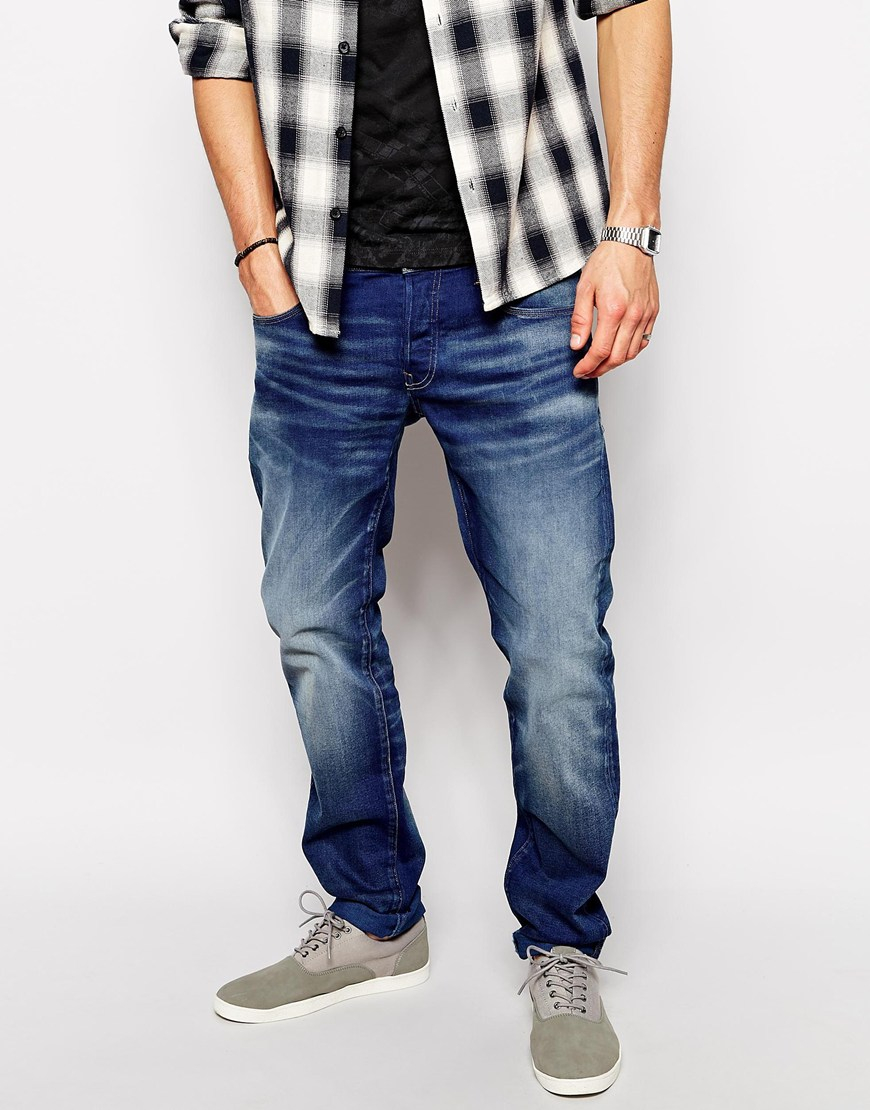 star raw g star jeans 3301 low tapered firro medium aged in blue for. Black Bedroom Furniture Sets. Home Design Ideas