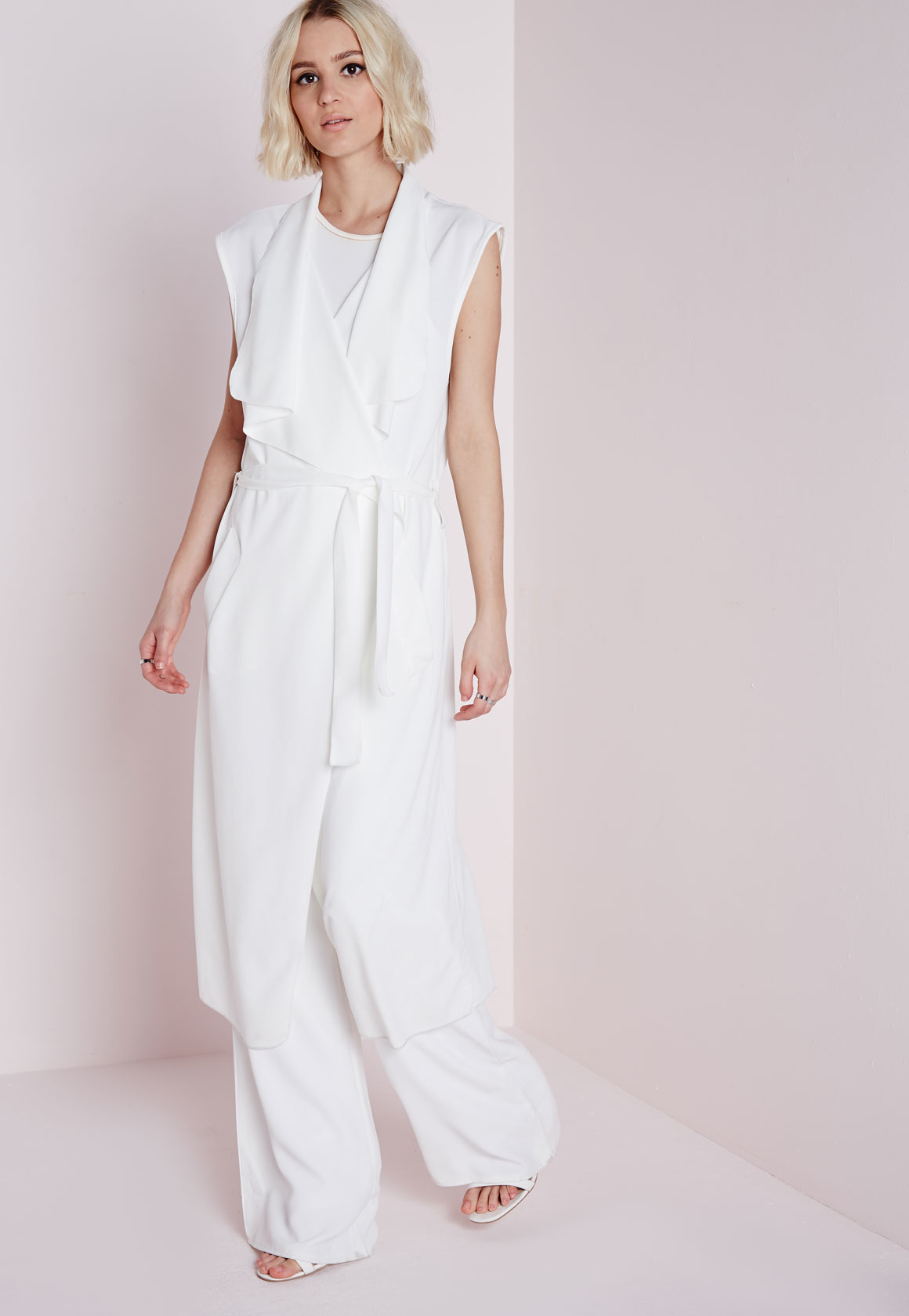 a0ab0e580024d6 Lyst - Missguided Sleeveless Belted Waterfall Duster Coat White in White