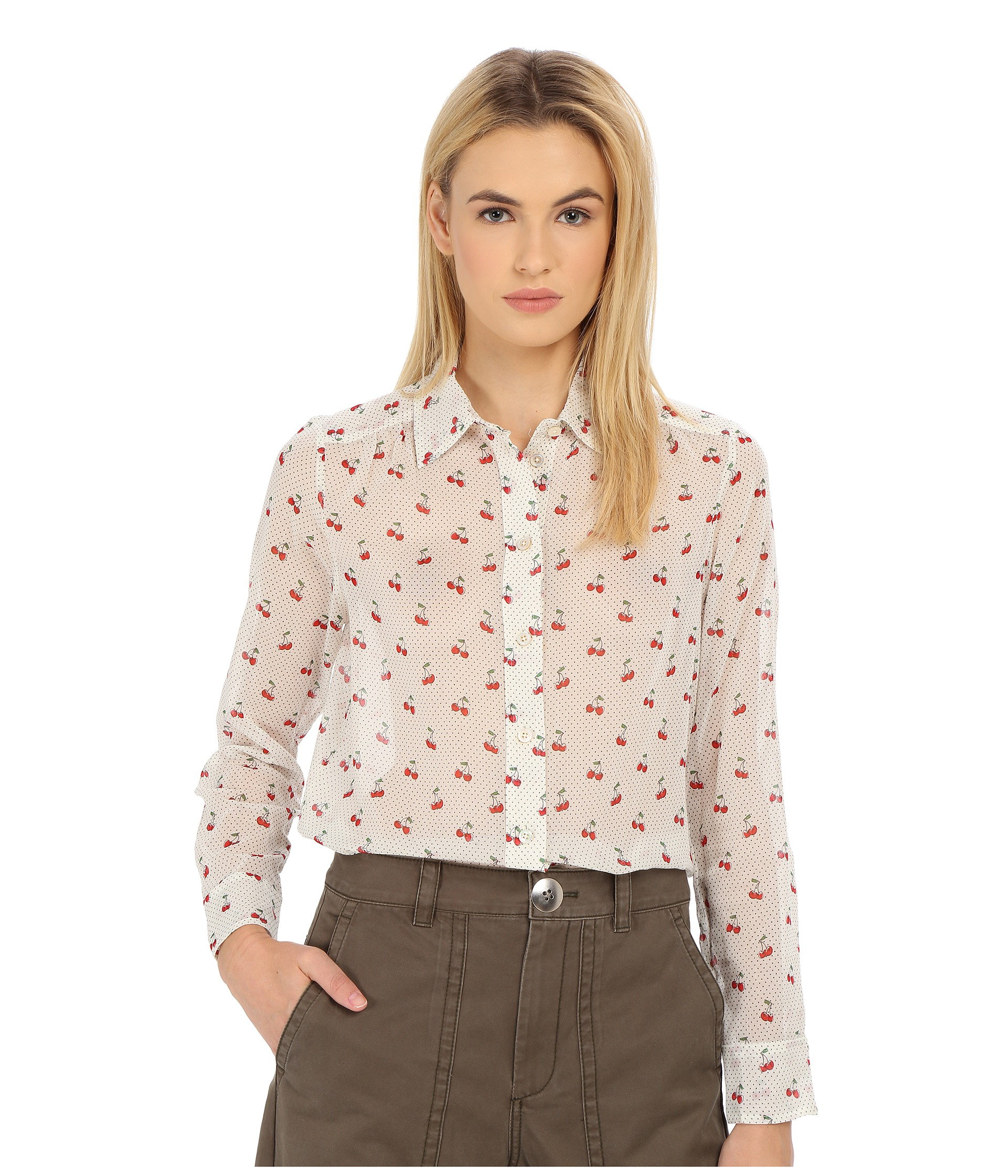 dc94bbabe39e54 Marc By Marc Jacobs Cherry Pindot Voile Button Up Shirt in White - Lyst