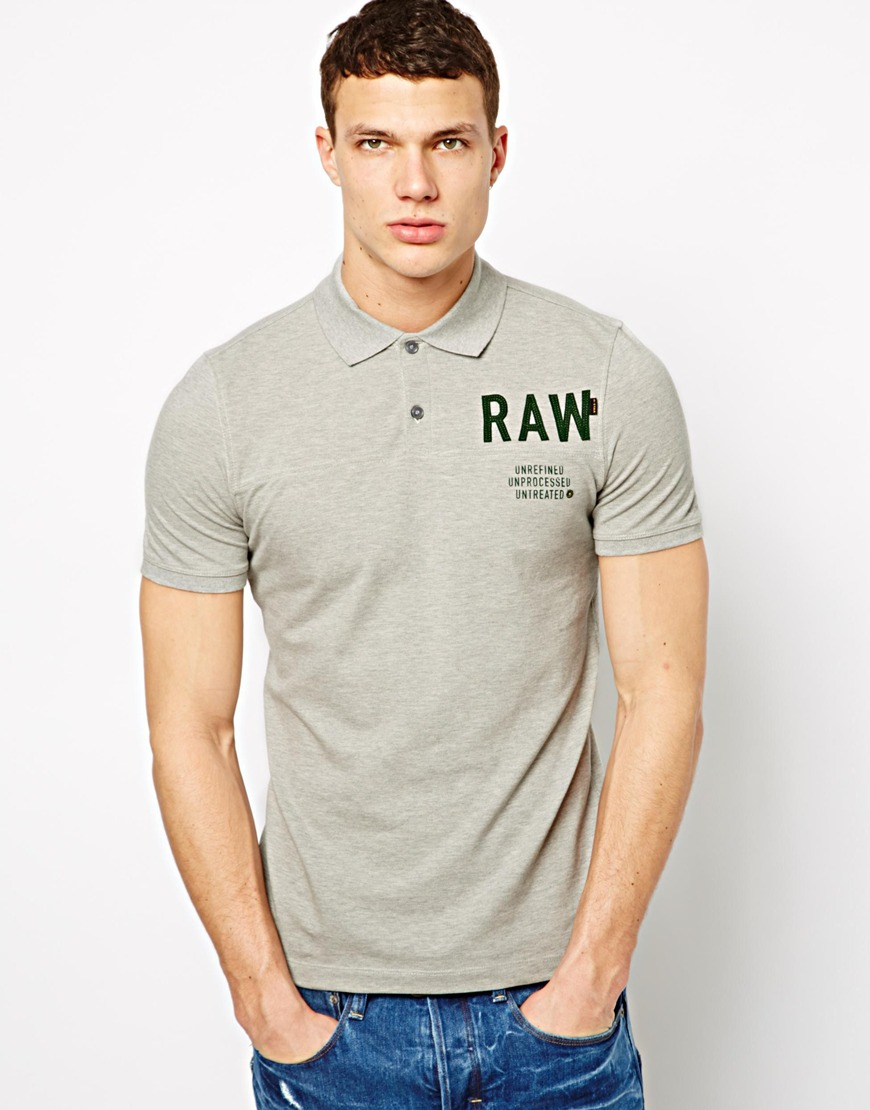 Lyst - G-Star Raw G Star Polo Shirt with Raw Logo in Gray for Men 517d383ce4
