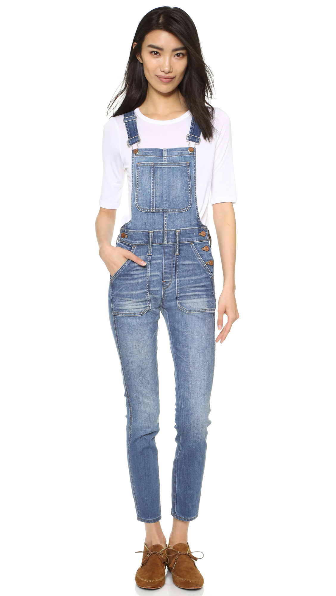 Madewell Skinny Overalls in Blue | Lyst