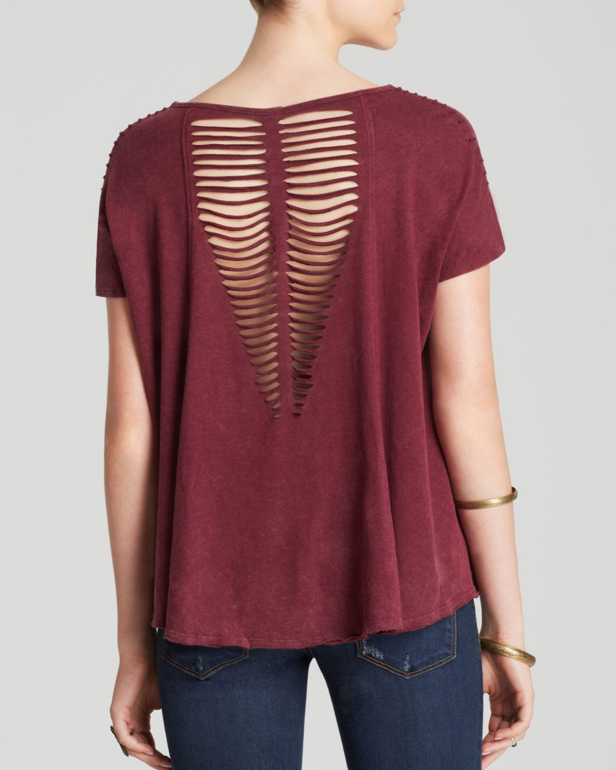 Free People Tee Too Cool For School In Red Lyst