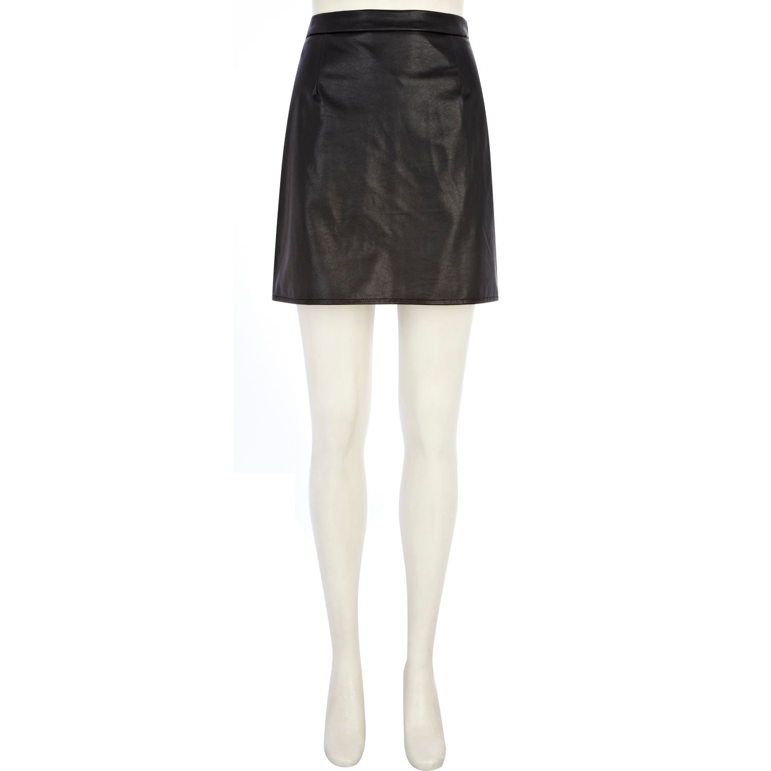 Black Leather Look A Line Skirt - Dress Ala